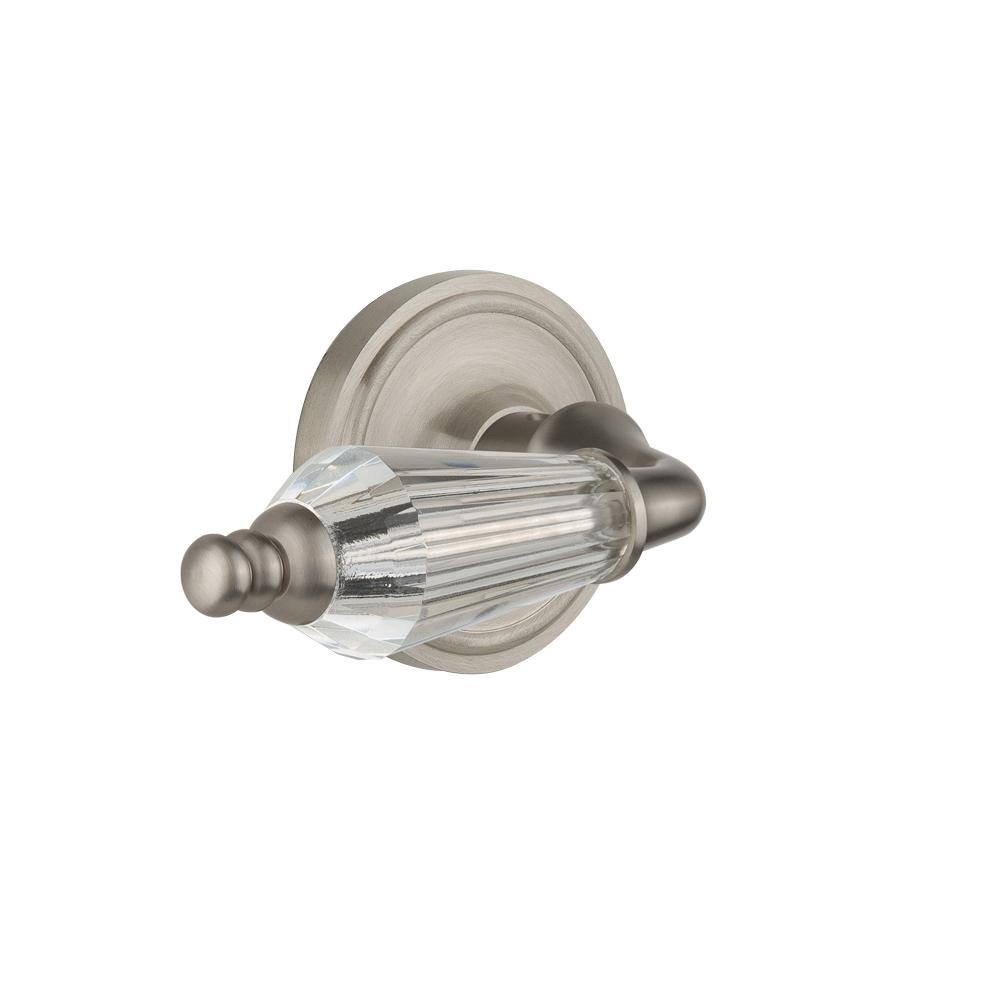 Classic Rosette Interior Mortise Parlor Lever in Satin Nickel