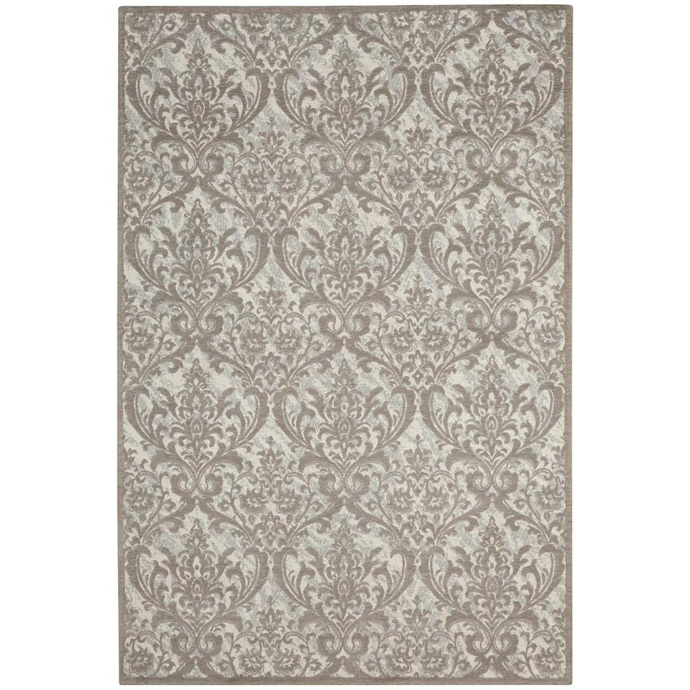 Damask Taupe Rug: Nourison Damask Ivory/Grey 8 Ft. X 10 Ft. Area Rug-341365