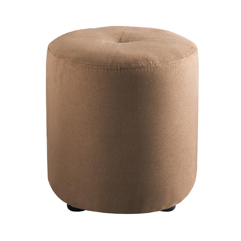 Pouf Brown Microfiber Round Ottoman