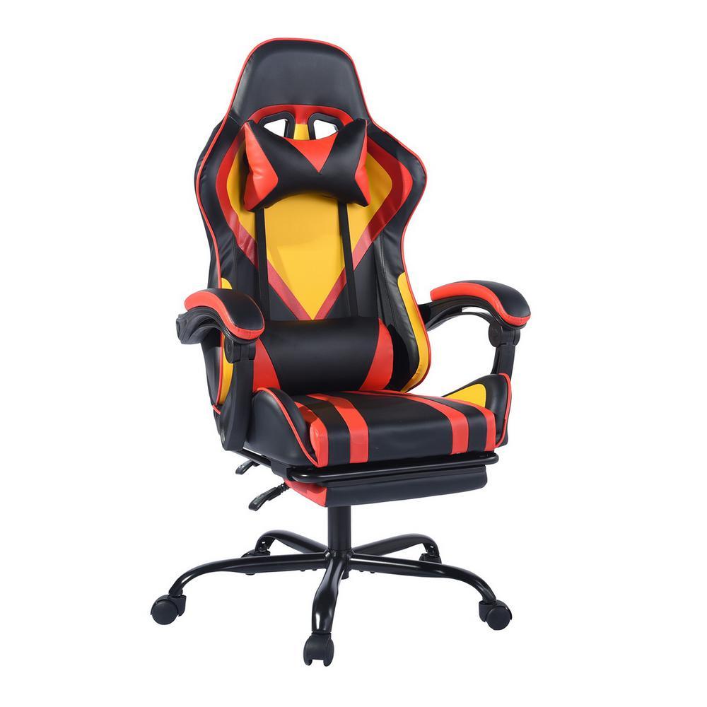 Doragon Black Yellow PVC Lumbar Footrest Gaming Chair