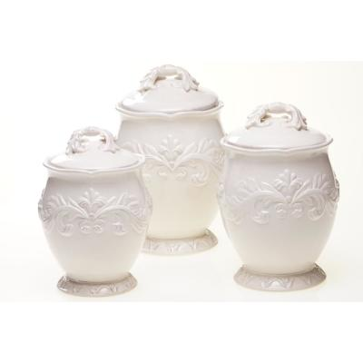Firenze Hand painted Glazed Earthenware Canister Set (3-Piece)
