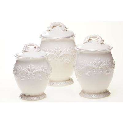 Firenze Hand Painted Glazed Earthenware Canister Set 3 Piece