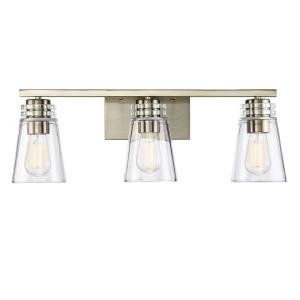 3-Light Noble Brass Bath Vanity Light with Clear Glass