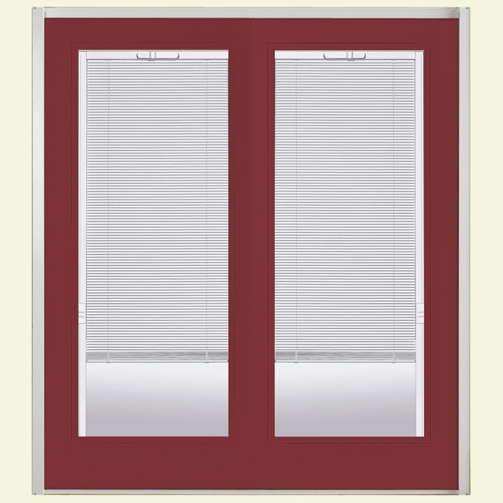 Masonite 72 in. x 80 in. Red Bluff Steel Prehung Right-Hand Inswing Mini Blind Patio Door without Brickmold