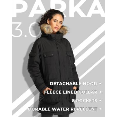 Women's Large 7.4-Volt Lithium-Ion Black Heated Parka Jacket with One 5.2 Ah Battery Pack and Thermolite Insulation