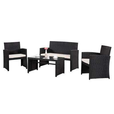 Aster Black 4-Piece Wicker Conversation Set with White Cushions