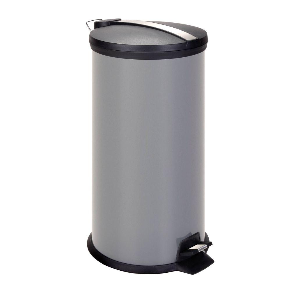 30 l Grey Round Metal Step-On Touchless Trash Can