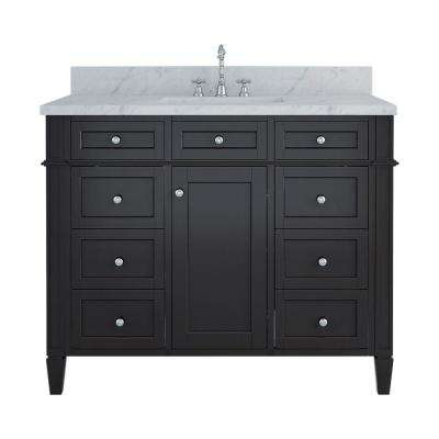 Samantha 42 in. W x 22 in. D Bath Vanity in Espresso with Marble Vanity Top in White with White Basin
