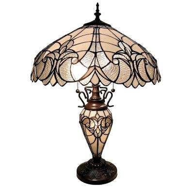 23 in. Tiffany Style Jagged Edge Glass-Base Table Desk Banker Lamp