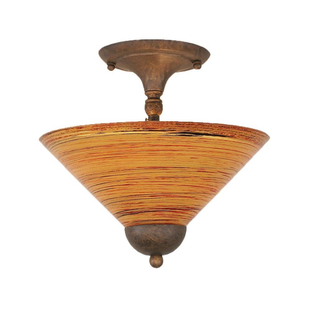 Almeida 2-Light Bronze Semi-Flush Mount Light with Firre Saturn Glass
