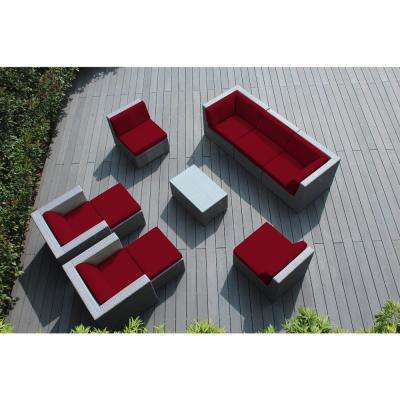 Gray 10-Piece Wicker Patio Seating Set with Spuncrylic Red Cushions
