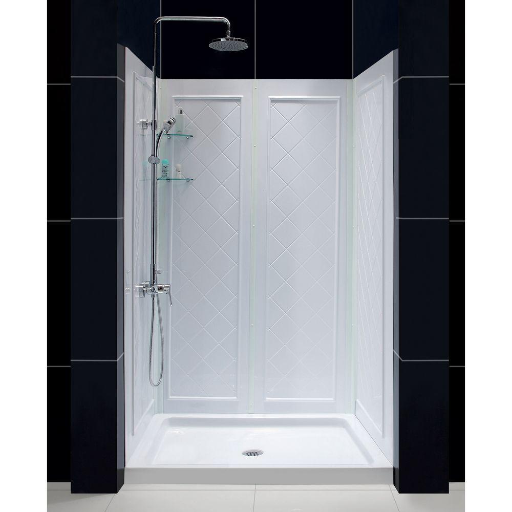 DreamLine QWALL-5 36 in. x 48 in. x 76-3/4 in. Standard Fit Shower ...