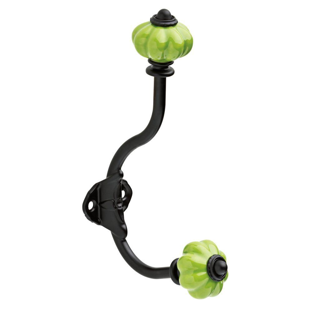 6-1/2 in. Black Coat and Hat Hook with Green Ceramic Melon