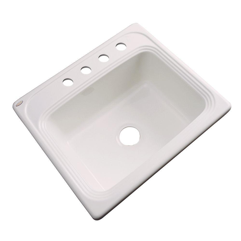 Wellington Drop-in Acrylic 25x22x9 4-Hole Single Bowl Kitchen Sink in Bone