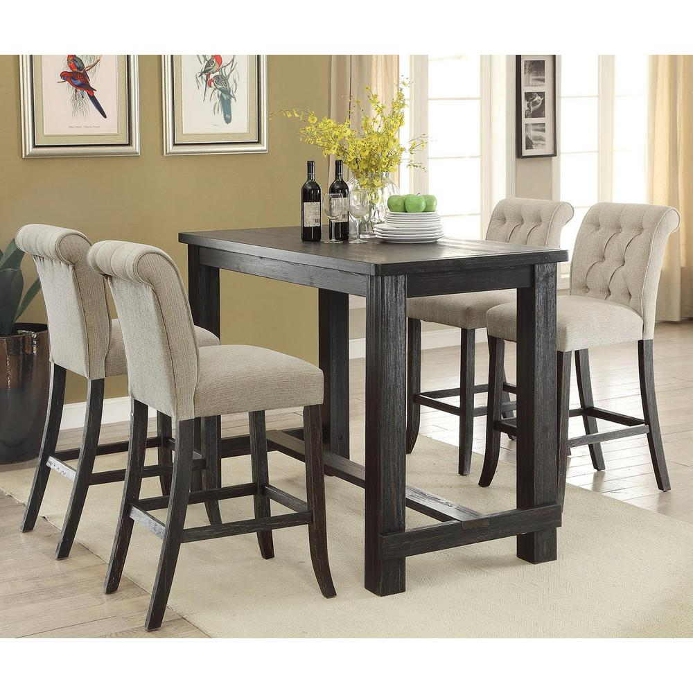 Black Home Bar Furniture: Furniture Of America Ullen Antique Black Bar Table-IDF