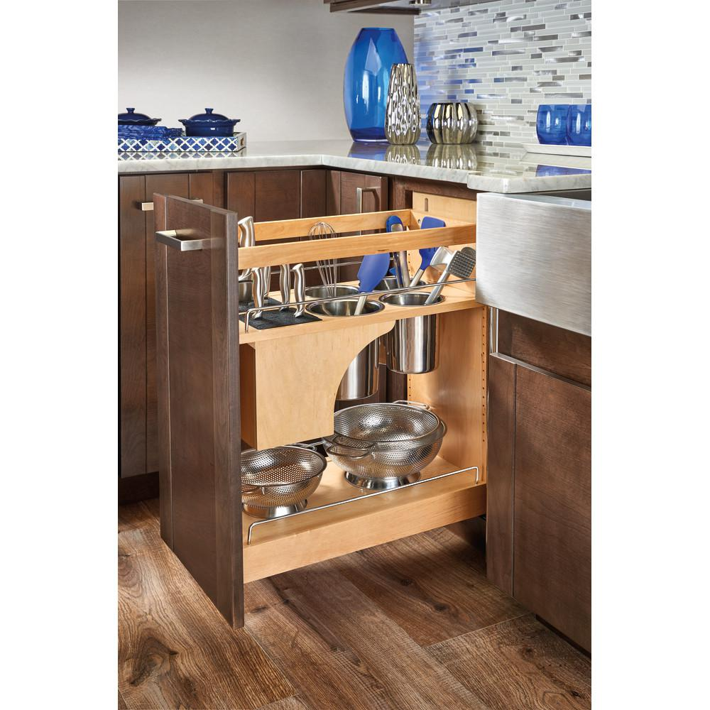 Rev A Shelf 25 5 In H X 11 In W X 21 56 In D Pull Out Wood Base Cabinet Organizer With Knife Block And Soft Close Slides 448kb Bcsc 11c The Home Depot