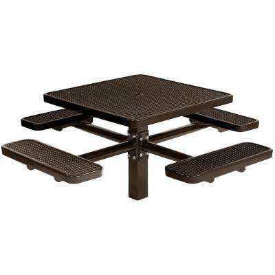Park 46 in. Black Commercial Square Picnic Table with 4 Seats