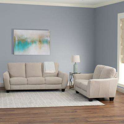 Jazz 2-Piece Beige Chenille Fabric Sofa Set