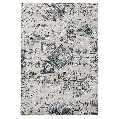 Lucius Teal Gray 5 ft. x 7 ft. Abstract Area Rug