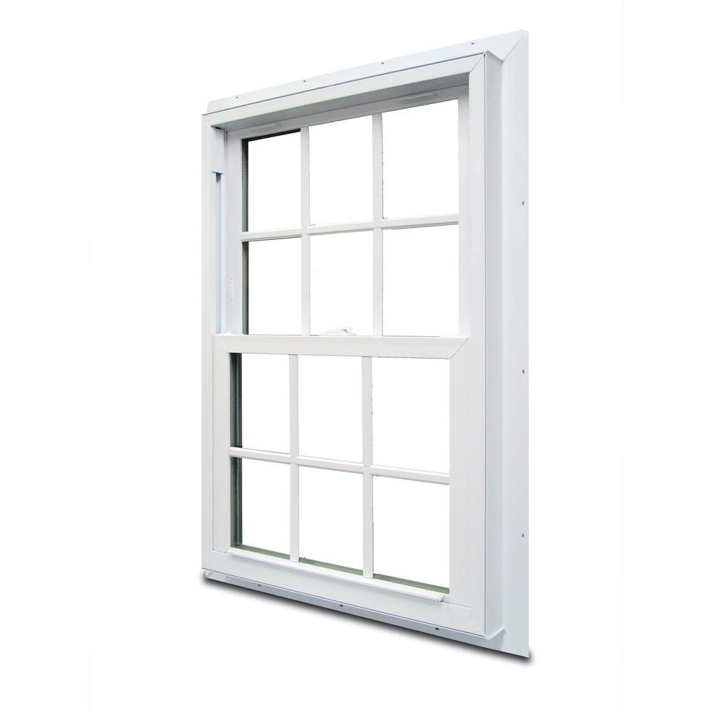 American Craftsman 37.75 in. x 48.75 in. 70 Series Double Hung White Vinyl Window with Nailing Flange and Colonial Grilles