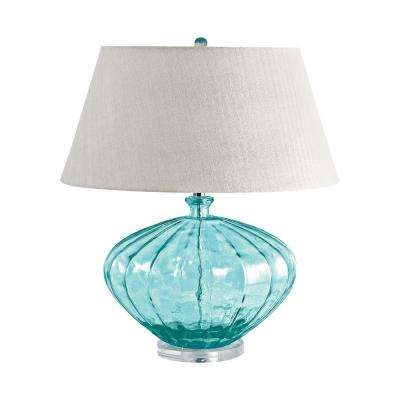 25 in. Blue Recycled Fluted Glass Urn Table Lamp