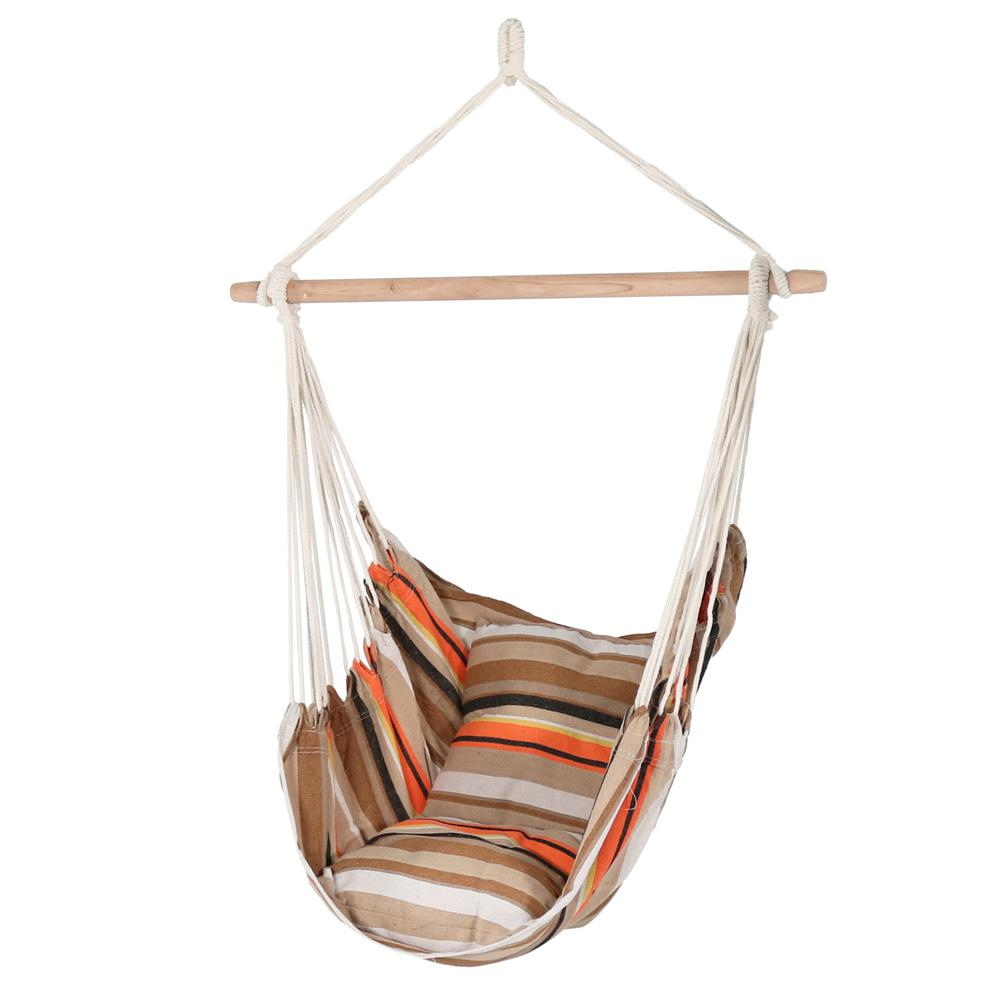 3.5 ft. Fabric Hanging Hammock Swing with Two Cushions in Beach
