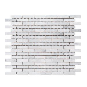 Snowed In White 11.75 in. x 9.75 in. Interlocking Textured Marble Mosaic Tile (0.795 sq. ft./Each)