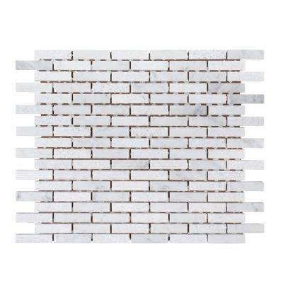 Snowed in 9-1/2 in. x 11-3/4 in. x 8 mm Marble Mosaic Tile