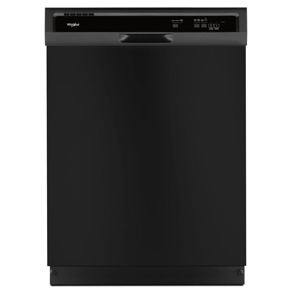 Whirlpool Front Control Built-In Tall Tub Dishwasher in Black with 1-Hour Wash Cycle, 55 dBA