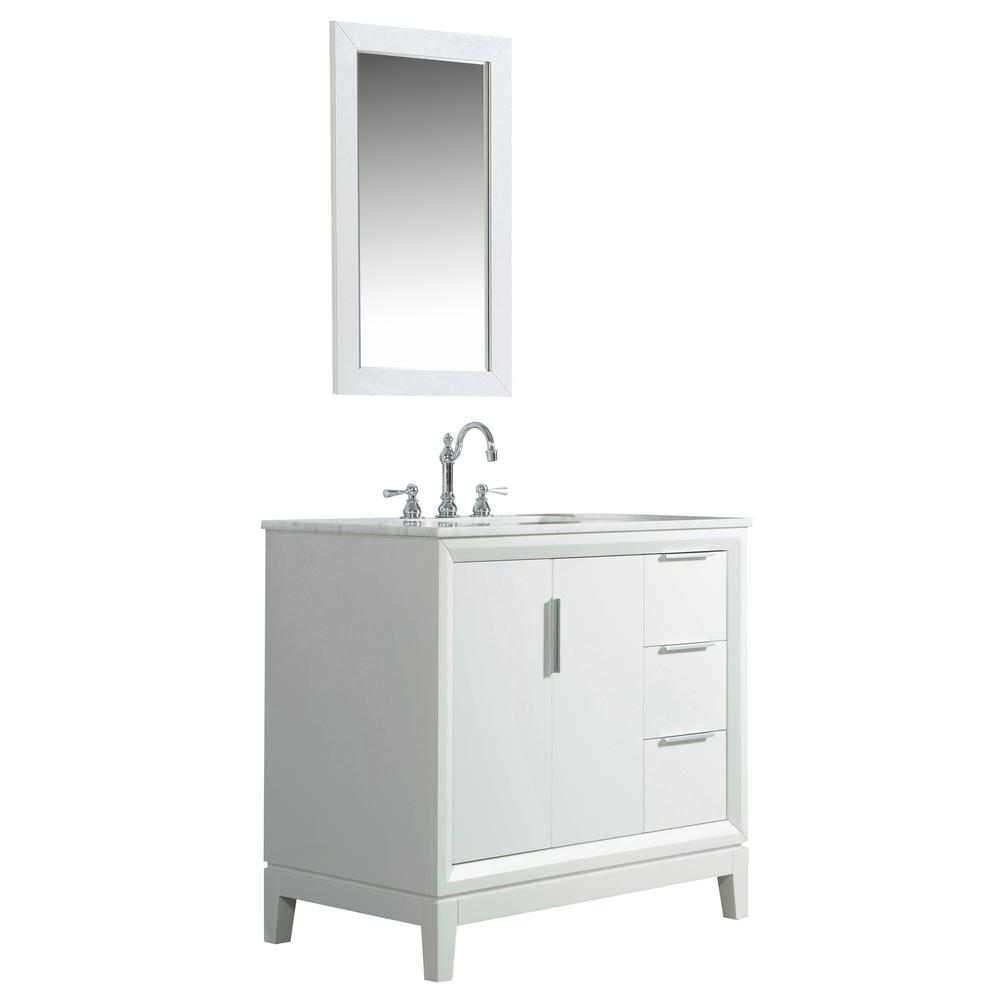 Water Creation 36 in. Bath Vanity in Pure White w/ Carrara White Marble Vanity Top w/ Ceramics White Basins and Mirror and Faucet