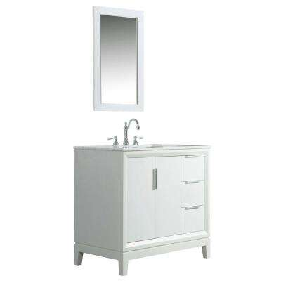 36 in. Bath Vanity in Pure White w/ Carrara White Marble Vanity Top w/ Ceramics White Basins and Mirror and Faucet