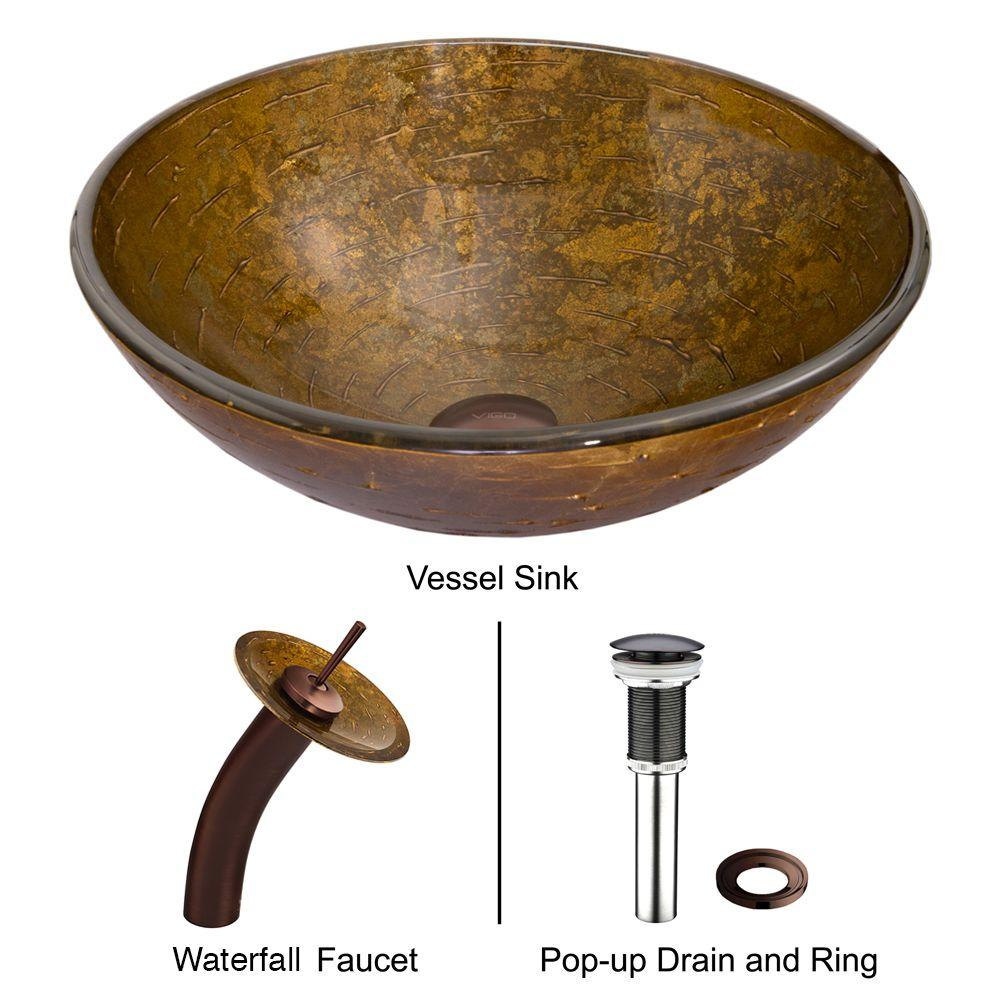 VIGO Glass Vessel Sink in Textured Copper with Waterfall Faucet ...