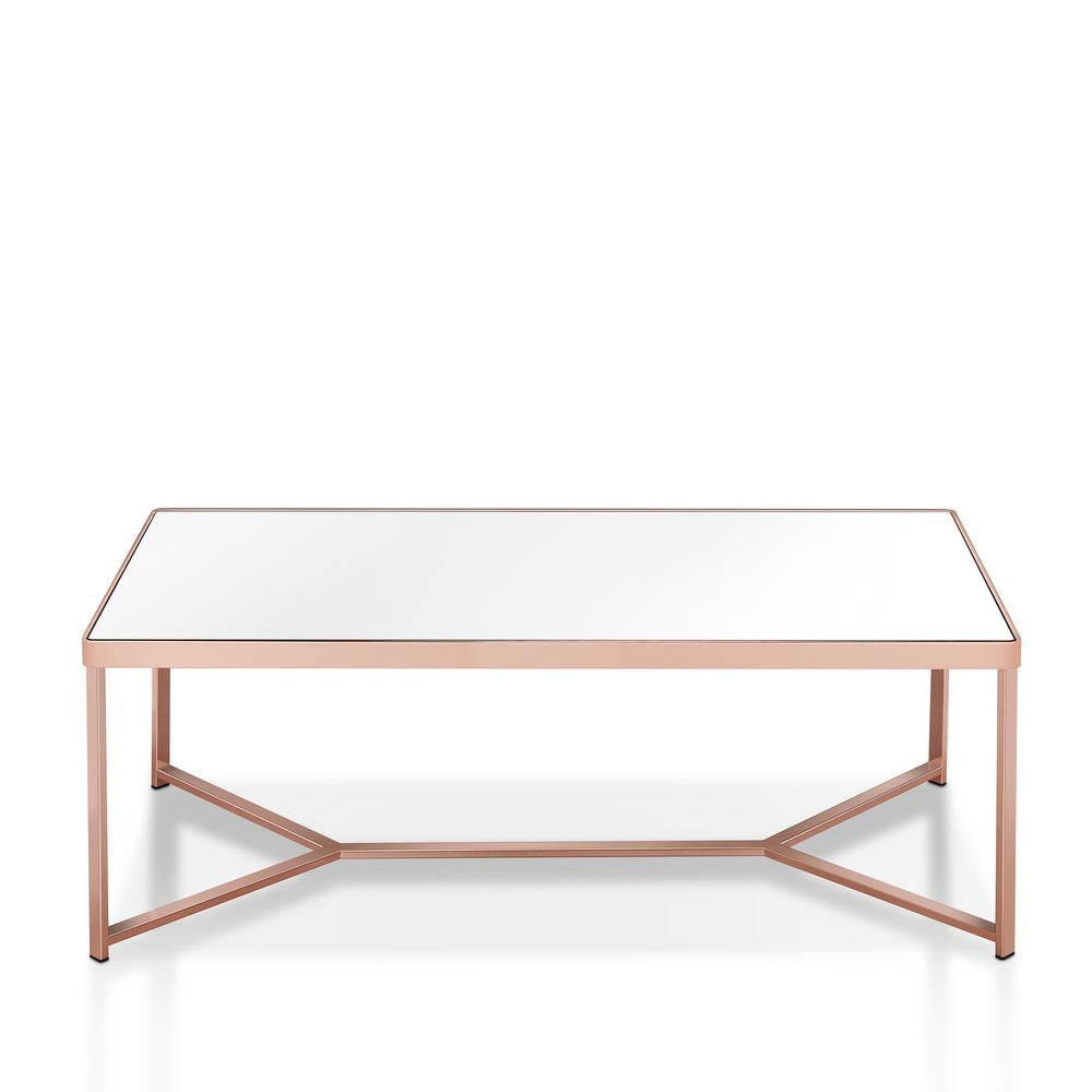Rose Gold Mirrored Coffee Table: Furniture Of America Achille Mirrored Rose Gold Metal