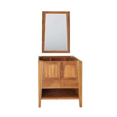 Significado 30 in. L Natural Teak Vanity Only With 24 in. L x 35 in. H Mirror
