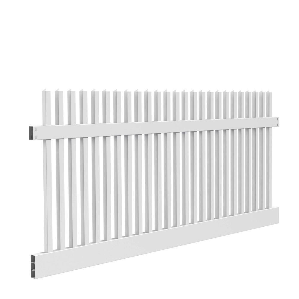 Yukon Straight 4 ft. H x 8 ft. W White Vinyl Un-Assembled Fence Panel