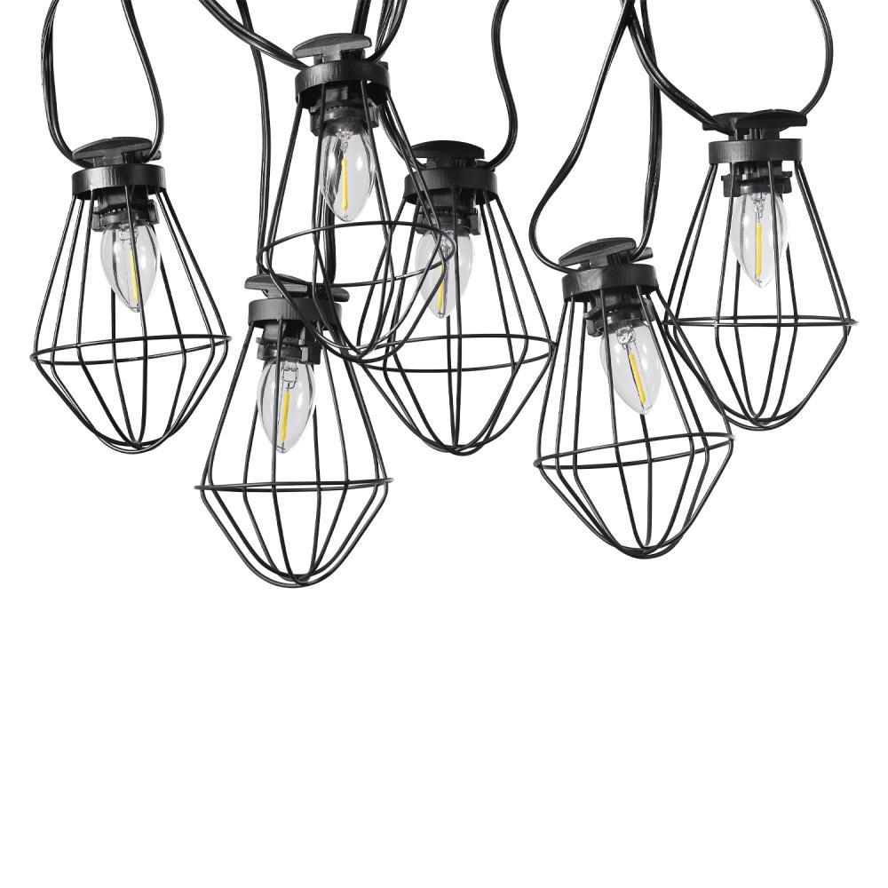 10-Light Copenhagen Outdoor/Indoor 10 ft. Plug-In String Lights, Candelabra Vintage LED Bulbs Included
