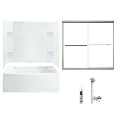 Accord 32 in. x 60 in. x 73.25 in. Bath and Shower Kit with Right-Hand Drain in White and Brushed Nickel