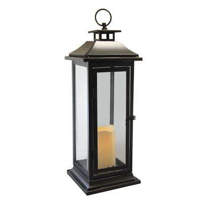 6 in. x 17 in. Dark Brown Traditional Metal Lantern with LED Candle