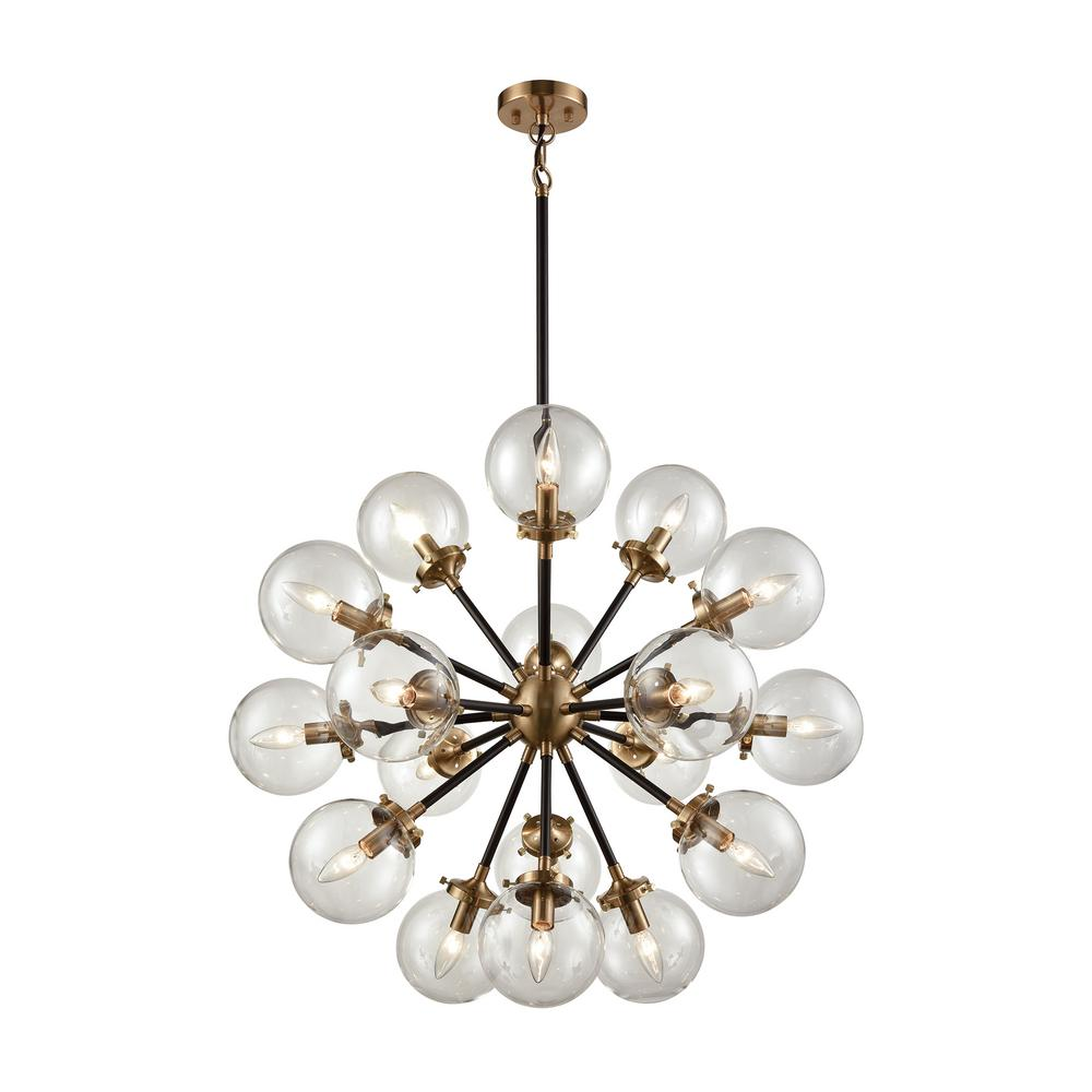 Titan Lighting Boudreaux 18-Light Matte Black and Antique Gold Chandelier  with Clear Glass Globe - Titan Lighting Boudreaux 18-Light Matte Black And Antique Gold