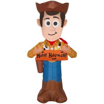 3.5 ft. Pre Lit Inflatable Woody with Banner-Disney Air-Blown