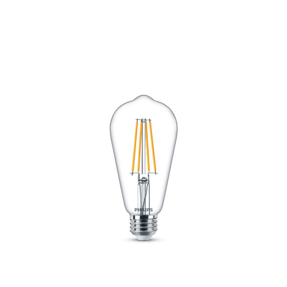 Philips Philips 60-Watt Equivalent ST19 Dimmable Vintage Glass Edison LED Light Bulb Soft White Warm Glow Effect (2700K)