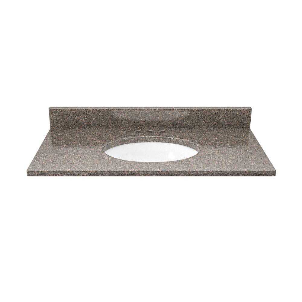 Solieque 31 in. Quartz Vanity Top in Chocolate Sparkle with White Basin