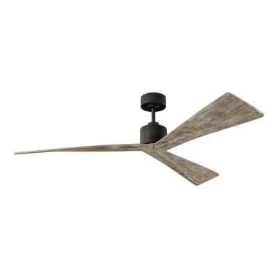 Adler 60 in. Aged Pewter Ceiling Fan with Sloped Light Grey Weathered Oak Blades, DC Motor and 6-Speed Remote Control