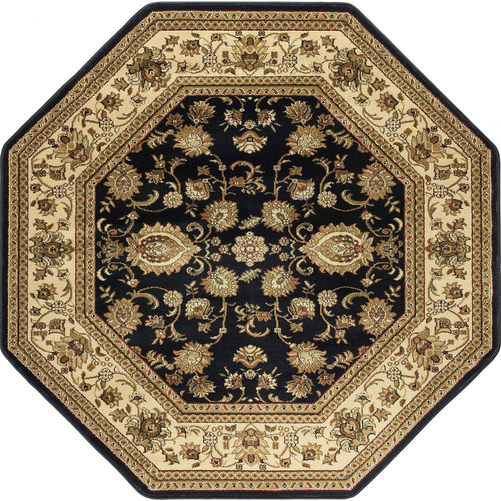 Tayse Rugs Sensation Black 5 ft. 3 in. Octagon Traditional Area Rug