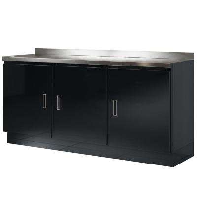 Select Series 36 in. H x 72 in. W x 22 in. D Aluminum Cabinet Set in Black with Stainless Steel Worktop (4-Piece)