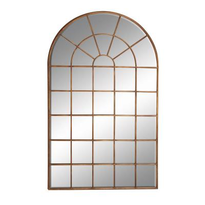 """Large Arched Vertical Metal and Wood Brown Wall Mirror 34"""" x 56"""""""