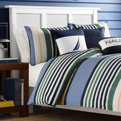 Dover Blue Striped Cotton Comforter Set
