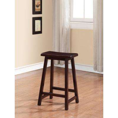 Saddle 24 in. Dark Brown Bar Stool
