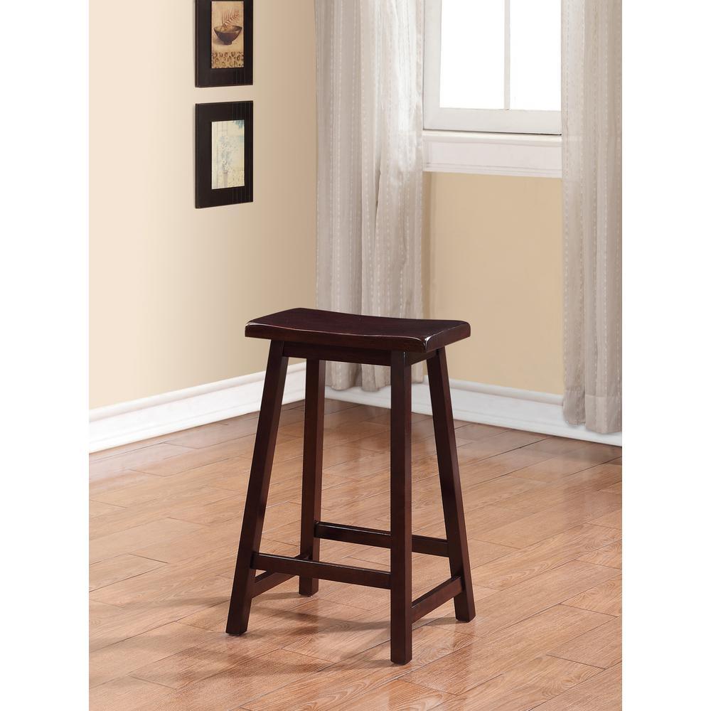 Linon Home Decor Saddle 24 In Dark Brown Bar Stool 98441dkbrn01