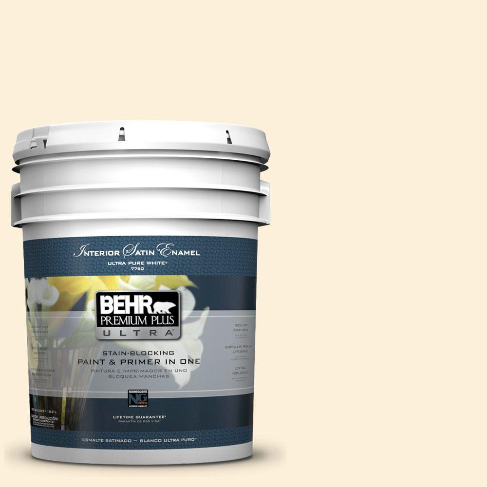 BEHR Premium Plus Ultra 5-gal. #W-D-220 Vanilla Custard Satin Enamel Interior Paint